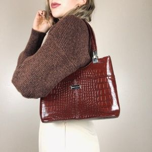 Handbags - 90s Style Croc Patent Leather Small Shoulder Bag